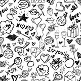 Vector doodle romantic seamless pattern. Black and white watercolor, ink valentines day background. Royalty Free Stock Photos