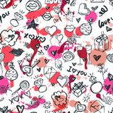 Vector doodle romantic seamless pattern. Design for fashion textile print, wrapping, valentines day backgrounds. Vector doodle romantic seamless pattern royalty free illustration