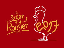 Vector of doodle rooster with 2017 new year and year of the roos. Ter word on red background,Holiday concept Stock Photography