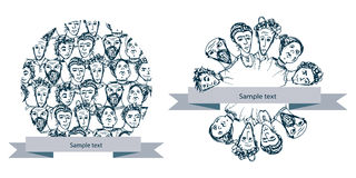 Vector doodle round banners with people Royalty Free Stock Photo