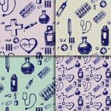 Vector doodle seamless. Medicine icons set Stock Photos