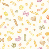 Vector Doodle Seamless Pasta Pattern Royalty Free Stock Image