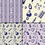 Vector doodle seamless paterns. Medicine icons set Royalty Free Stock Images
