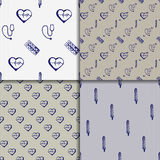 Vector doodle seamless paterns. Medicine icons set Royalty Free Stock Photo