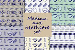 Vector doodle seamless paterns. Medicine icons set Stock Photo