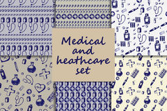 Vector doodle seamless paterns. Medicine icons set Royalty Free Stock Photography
