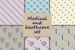 Vector doodle seamless paterns. Medicine icons set Stock Images