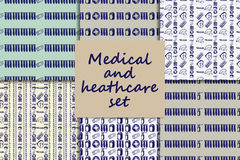 Vector doodle seamless paterns. Medicine icons set Stock Image