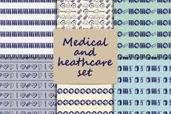 Vector doodle seamless paterns. Medicine icons set Stock Photography