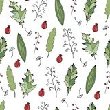 Vector doodle seamless pattern with colorful autumn leaves. Repeating background. vector illustration