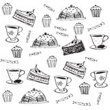 Vector doodle seamless pattern with desserts Royalty Free Stock Photo