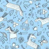 Vector doodle seamless pattern with magic unicorns Stock Image