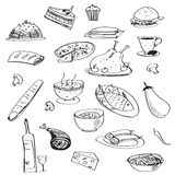 Vector doodle seamless pattern with meals Royalty Free Stock Photography