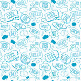 Vector doodle seamless pattern with speech bubbles vector illustration