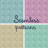 Vector doodle seamless patterns with waves. Fully editable eps 10 file with clipping masks and seamless pattern in swatch menu royalty free illustration