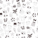 Vector doodle seamless summer themed pattern Royalty Free Stock Photo