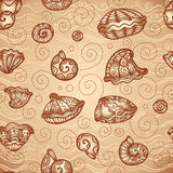 Vector doodle seashells vintage pattern Royalty Free Stock Photography