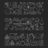Vector doodle set of education symbols Back to school Stock Photos