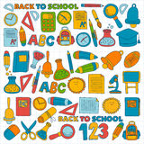 Vector doodle set of education symbols Back to school Stock Photography
