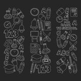 Vector doodle set of education symbols Back to school Stock Images