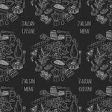 Vector doodle set for italian menu. Food Travel Cuisine Restaraunt Journey Stock Photos