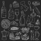 Vector doodle set for italian menu. Food Travel Cuisine Restaraunt Journey Stock Image