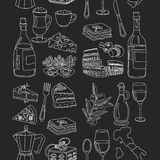 Vector doodle set for italian menu. Food Travel Cuisine Restaraunt Journey Royalty Free Stock Image