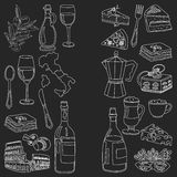 Vector doodle set for italian menu. Food Travel Cuisine Restaraunt Journey Stock Photography
