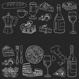 Vector doodle set for italian menu. Food Travel Cuisine Restaraunt Journey Royalty Free Stock Photos