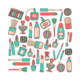 Vector doodle set of perfume and cosmetics Royalty Free Stock Photo