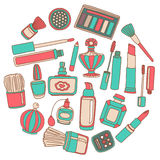 Vector doodle set of perfume and cosmetics Stock Image