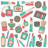 Vector doodle set of perfume and cosmetics Royalty Free Stock Images