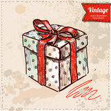 Vector doodle set, red ribbon, illustration with presents Stock Images