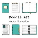 Vector doodle Set of Sketch Notebooks, Notepads and Diaries.. Cartoon notebooks. Color Hand drawn sketch vector illustration. Cool design elemements for Royalty Free Stock Photography