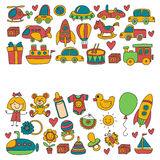 Vector doodle set with toys for shop, store, kindergarten, nursery Hand drawn vector illustration Royalty Free Stock Photography