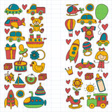 Vector doodle set with toys for shop, store, kindergarten, nursery Hand drawn vector illustration Stock Image