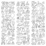 Vector doodle set with toys for shop, store, kindergarten, nursery Hand drawn vector illustration Stock Photo