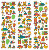 Vector doodle set with toys for shop, store, kindergarten, nursery Hand drawn vector illustration Stock Photography