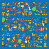 Vector doodle set with toys for shop, store, kindergarten, nursery Hand drawn vector illustration Royalty Free Stock Photos