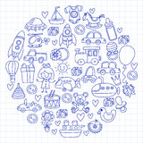 Vector doodle set with toys for shop, store, kindergarten, nursery Hand drawn vector illustration Stock Photos