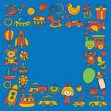 Vector doodle set with toys for shop, store, kindergarten, nursery Hand drawn vector illustration Stock Images