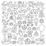 Vector doodle set with toys for shop, store, kindergarten, nursery Hand drawn vector illustration Royalty Free Stock Images