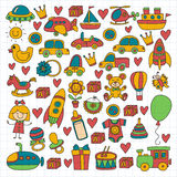 Vector doodle set with toys for shop, store, kindergarten, nursery Hand drawn vector illustration Royalty Free Stock Image