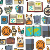 Vector doodle set with travel icons Adventure Explore Camera Passport Ticket Map Backpack Doodle seamless pattern Royalty Free Stock Photography