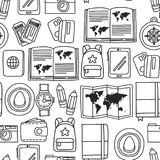 Vector doodle set with travel icons Adventure Explore Camera Passport Ticket Map Backpack Doodle seamless pattern Royalty Free Stock Images