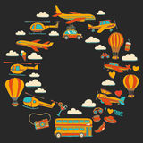 Vector doodle set of travel and transportation Car plane helicopter ballon ship. Hand drawn pictures Stock Photography