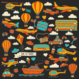 Vector doodle set of travel and transportation Car plane helicopter ballon ship. Hand drawn pictures Royalty Free Stock Image