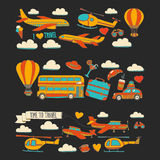 Vector doodle set of travel and transportation Car plane helicopter ballon ship. Hand drawn pictures Stock Image