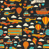 Vector doodle set of travel and transportation Car plane helicopter ballon ship. Hand drawn pictures Royalty Free Stock Photography