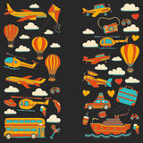 Vector doodle set of travel and transportation Car plane helicopter ballon ship. Hand drawn pictures Royalty Free Stock Photo